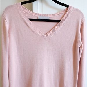 Brand new: Cotton v-neck crop sweater, pale pink